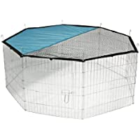 Kerbl Freigehege aus 8 Gittern, verzinkt, mit Netz und Tür, Ø 143 cm