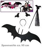 Fledermaus-Set schwarz 3-tlg. (Flügel ca. 95 cm Breite Haarreif Stab mit Fledermaus & Fransen) Kit Kostümzubehör Verkleidung Verkleidungsset Themenabend Halloween