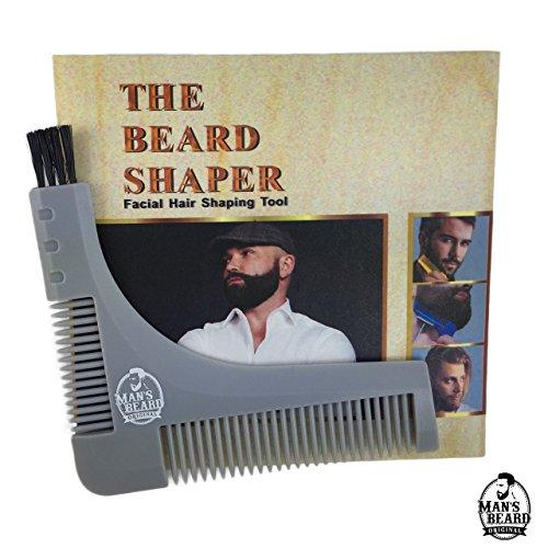 Man's Beard - Pochoir Gris Guide à Barbe avec Peigne Intégré Pour Contour De La Barbe Avec Brosse Nettoyage