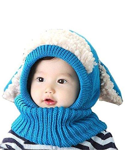 LinQuick Winter Baby Kinder Mädchen Jungen Warme Wollene Haube Schal Mützen Hüte(Blau)
