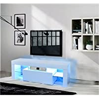 Panana Modern Designs Living Room Furniture White 130cm TV Stand with LED Storage Cabinet