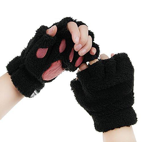 guanti gatto Guanti zampe di gatto guanto in pelliccia sintetica guanti con orme mezze dita guanti da donna guanti caldi in peluche muffole spesse donna ragazza regalo compleanno decorazione primavera