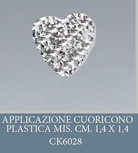 Lot 50 pièces, Bonbonnière application, plastique forme de coeur, dimension cm 1,4 x 1,4, pour marque-place, composition Confetti. (ck6028)