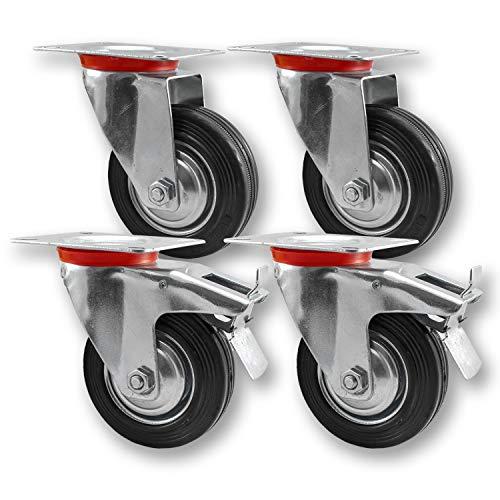 Nirox 4x Transportrollen im Set, 75mm - Mit Bremse - 360 Grad rundum drehbar - Vollgummi, 95mm Gesamthöhe - bis 200kg