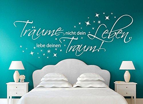 Wandora W1392 Wandtattoo Zitat Träume Nicht Dein Leben, lebe deinen Traum