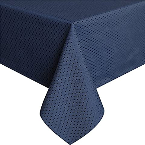 Eurcross Elegant Waffle Checked Tablecloth, Polyester Waterproof Spillproof Rectangular Geometric Pattern Tablecloth Oilcloth Blue, 60 x 84