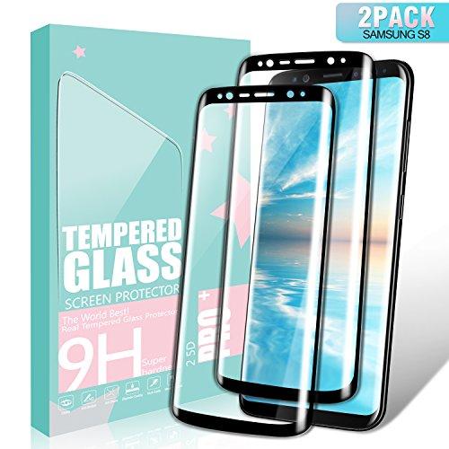 SGIN Galaxy S8 Panzerglas Schutzfolie, [2 Stück] Gehärtetem Glas HD Displayschutzfolie, Anti-Kratzer, Anti-Fingerabdrücke, Blasenfrei, 9H Härtegrad, für Samsung Galaxy S8 - Schwarz