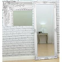 """Haddon Antique WHITE Ornate Full Length Floor Leaner Wall Mirror 63"""" x 25"""""""