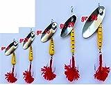 Carson CUCCHIAINO Fiocco Rosso LUCCIO Reale Trota Esca Rotante Pesca Spinning VESPATO Giallo (GR. 9)