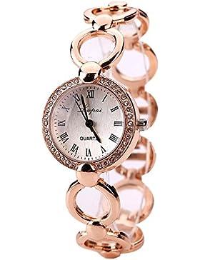 Sunnywill LVPAI Frauen Rosé Gold Luxus Schöne Mode Herz Anhänger-Uhren für Frauen Mädchen Damen