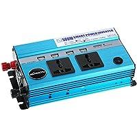 KKmoon 500W Inversor de Corriente para Coche, DC 24V a AC 220V, 50Hz con 4 Puertos USB / 2 Enchufe AC Cargador para Móvil PC Tableta