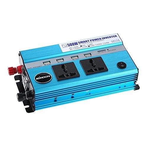 KKmoon 500W Auto-Wechselrichter DC 24V zu Wechselstrom 220V 50Hz mit 4 USB-Häfen / 2 Wechselstrom-Steckdosen