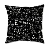 Albert Einstein formula e MC2 Meaning Cotton Square Pillow Covers by LZ Pillow, Cotone, 18x18 inch one side, 18x18 Inch