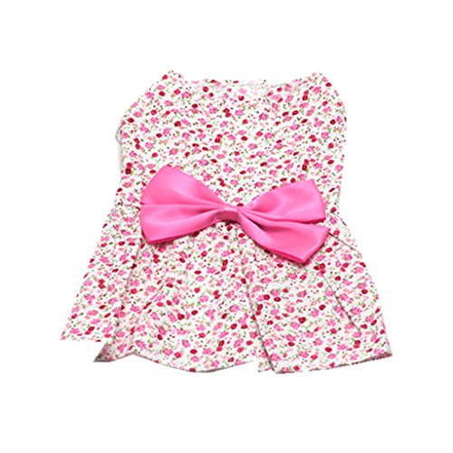 Generic Pet Dog Dress Skirt Cat Bow Princess Clothes Apparel Female Costume Pink XL