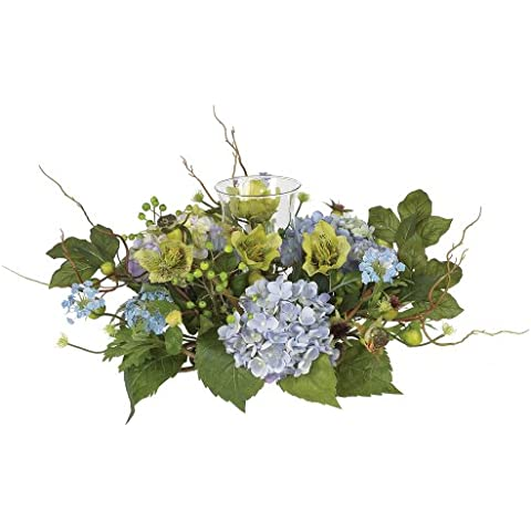 Nearly Natural 4632-BL Hydrangea Candleabrum pieza central-Blue