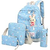 GOODCULLER 4 PC Women Rabbit Lightweight Travel Backpack School Bag Shoulder Bag (Sky Blue)