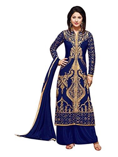 BND Fashions women Georgette Semi-Stitched Straight Salwar Suit(Blue_H1002)