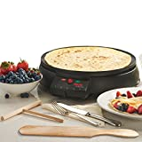 Cooks Professional Electric Large Deluxe Round Non Stick Hotplate Crepe Maker and Pancake Machine. Accessory Kit Included - 900 Watts.