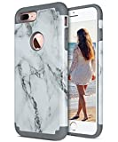 iPhone 7 Plus Case, ULAK Slim Heavy Duty Cases Dual Layer Shock-Absorption Hybrid TPU Bumper Hard PC Protective Cover for Apple iPhone 7 Plus 5.5 inch - Marble