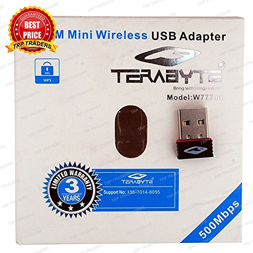 Terabyte Mini Wireless WiFi Dongle 500MBPS USB Connector  Black