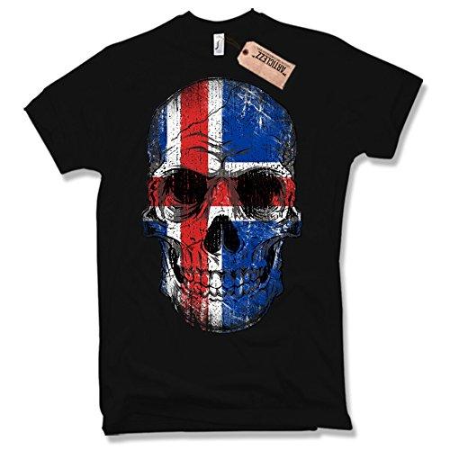 ISLAND SKULL Shirt , Totenkopf, Fussball, Handball, verschiedene Farben, Gr. S - XXL Schwarz / Black