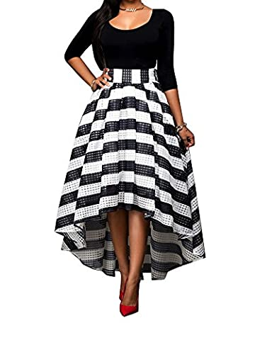 LaoZan Tops Femme Manches Longues Et Robe De Soirée Stripes Maxi Skirt Cocktail Noir XL