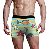 XiangHeFu Slip da Uomo Boxer Pantaloni Traspiranti Elasticizzati con Stelle Marine e Conchiglie