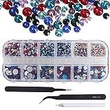 Nahuaa 2000pcs Rhinestone Cristal Gema Colores Mezclados Diamantes de imitación 6 Tamaños Cristal Craft Gemas Piedras para Nail Art Decoración Cara con cajas y 2 pinzas y lápiz