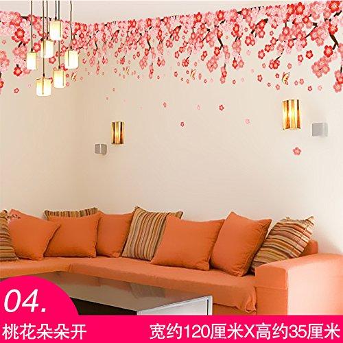 MiniWall Das Wohnzimmer Schlafzimmer Sofa Tv Wand Wand Dekorationen Aufkleber Animation kreative Mahagoni Wallpaper Wallpaper, 04. Peach Blossoms, König