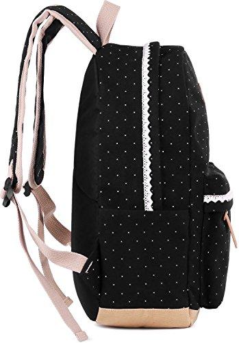 Coofit Damen Mädchen Rucksäcke Schulrucksäcke Canvas Schultaschen Polka Dots Sport Freizeitrucksack - 6