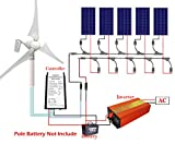 ECO-WORTHY 900 W Solar Panel & Wind Turbine Akku-Ladesystem: 400