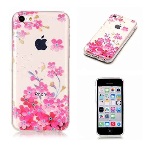 iPhone 5C Custodia, [Materiale flessibile TPU Gel trasparente del silicone Grip sottile e leggero ] Copertura iPhone 5C Case, Shock Proof [ Cartoon Fiore Totem bianca ] # # 3