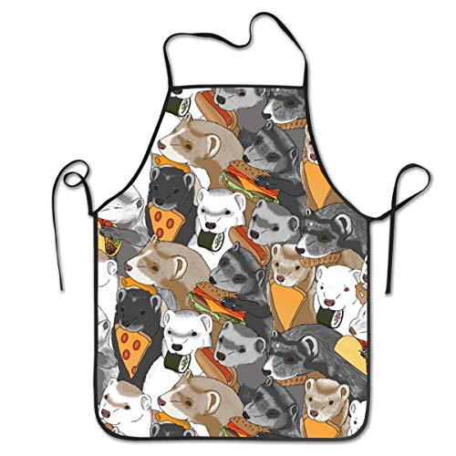 BetterShopDay Aprons Kitchen Chef Bib Ferrets and Snack Foods Medium Pizza Tacos Cheeseburger Sushi Pretzel Fries Cheese Puffs Adjustable Ties for Kitchen Cooking Baking Gardening 20.4