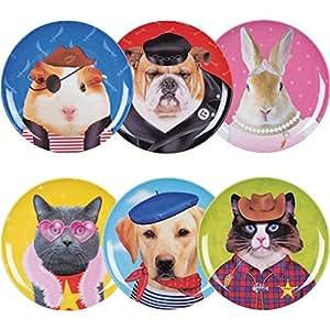 Assiettes Les zamis Set de 6 animaux assortis Multicolore Mélamine La chaise longue 29-K2-027