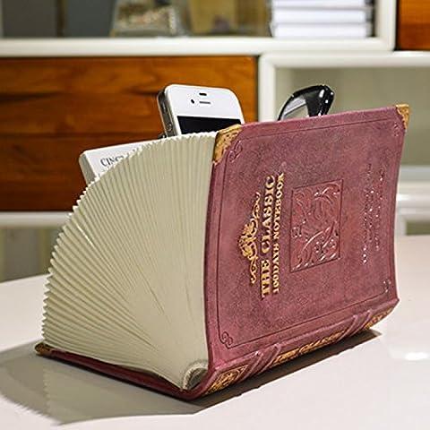 Européen Antique Imitation Cuir Imitation Cuir Bureau De La Télécommande Boîte De Rangement Boîtes De Finition De Débris ( couleur : Popular Blue