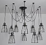 HL415 zehn Kopf schwarze Spinne Kronleuchter Lampe mit eisernen Käfig Jahrgang industrielle Retro Anhänger Decke Edison E27 kreative DIY