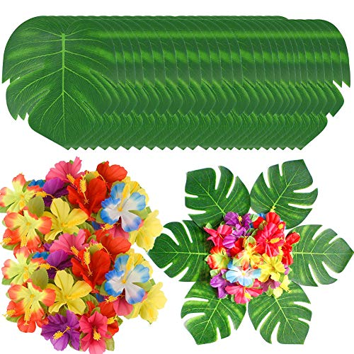 90 Pcs Artificial Tropical Palm Leaves and Flowers, Artificial Monstera Plant Leaves and Silk Hibiscus Flowers Party Decor, Hawaiian Luau Party Jungle Beach Theme BBQ Birthday Party Decorations