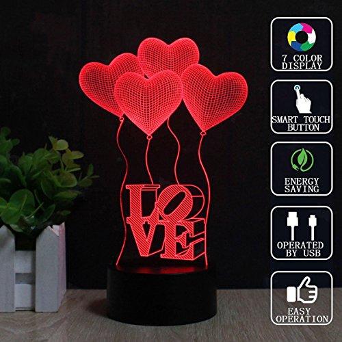 Vier Liebe Herz Balloons 3D Illusion Lampe, FZAI Romantics 7 Farben LED Nachtlicht mit Touch-Taste & 150cm USB Kabel für Freundin Geburtstag / Valentinstag Geschenk ändern (Projekt Liebe)