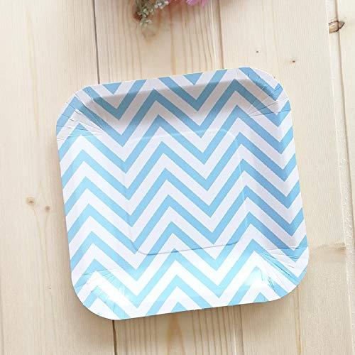 Blue Wave Prinz Geburtstagsparty Themenpakete und Dekorpapier Hüte Handtuch Pappbecher 7 -Zoll- Quadrat blau gewellte Platte12Ge -