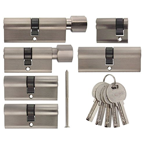 Set2 6x Zylinderschloss gleichschließend verschiedene Größen 1x80mm 2x70mm 1x40mm /1x80 mit Knauf 1x60mm mit Knauf