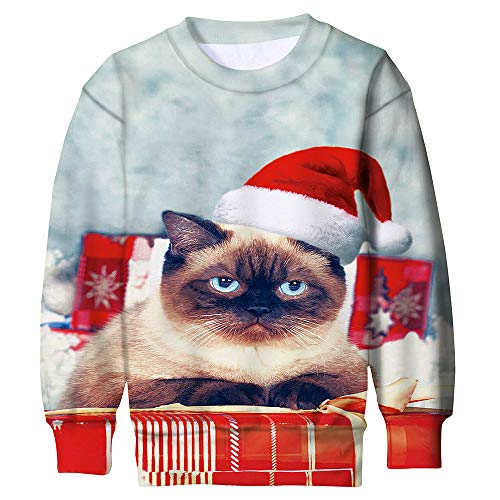 ALISISTER Noël Pulls Pull-Over Enfant Ragazzi Ragazze 3D Sweat-Shirt Jumper Douces Noel Ugly Sweater