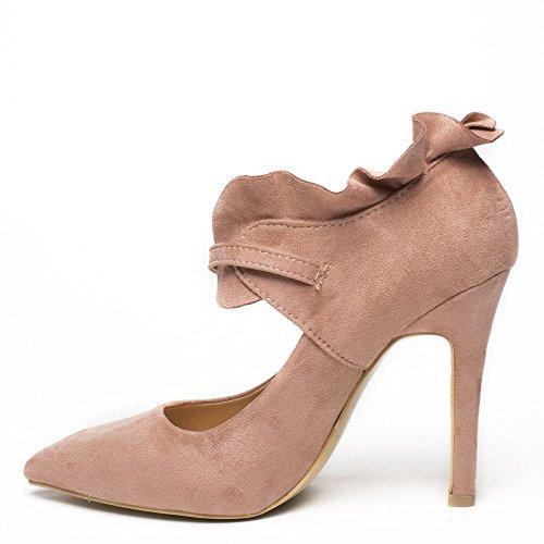 Ideal Shoes - Escarpins effet daim à bout pointu Surya Rose