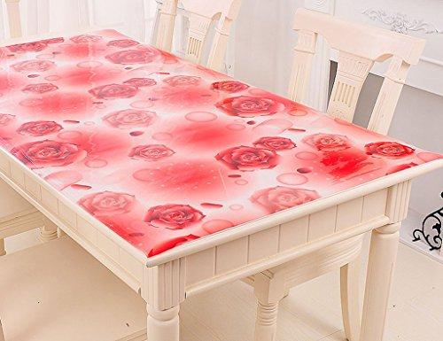 Nappes De Table en Verre Souple en PVC De Table À Thé De en Cristal Transparente Anti-Chaude À l'huile Anti-Chaude (1.5mm) (Couleur : Red Rose, Taille : 80 * 135cm)