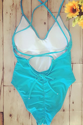 Le Donne Monokini Merletto Intero Costume Bikini Blue