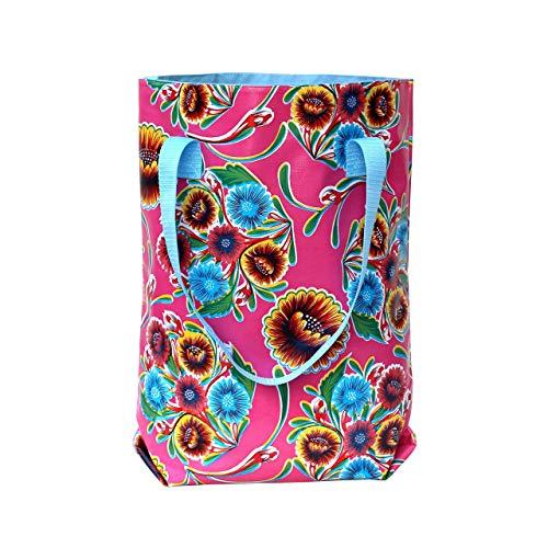 IKURI Einkauftasche - Wasserdicht Shopper für Frauen Beutel Einkaufsbeutel Badetasche Tote Bag aus Wachstuch - Design Dulce Flor
