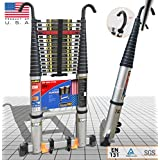 EuroLadderSystems Euro Ladder Systems Pro Telescopic Ladder 5.6 Meter (18.6 ft) - Stores at 3.6 ft -New Detachable Hooks - Zero Flex Technology (Rock Solid)- Red Que Safe Step - Stabilizer,Anti Skid feet & Wheel Kit