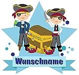 Samunshi® Piraten Wandtattoo Türschild mit Name personalisierbar Kinderzimmer Türaufkleber Baby Wandaufkleber in 9 Größen (40x35cm Mehrfarbig)