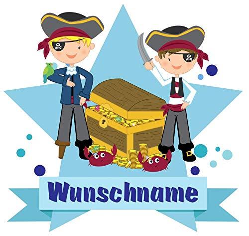 Samunshi® Piraten Aufkleber mit Namen Autoaufkleber Namensaufkleber Kinder in 7 Größen (15x13,1cm Mehrfarbig) (Für Piraten-namen Kinder Lustige)