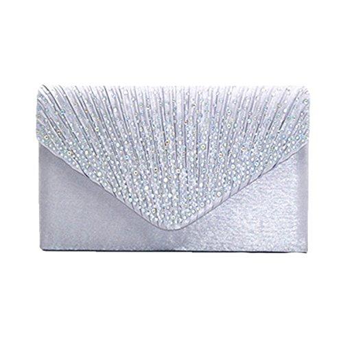 Multicolor Hochzeit Handtasche Silver Handtasche Satin Glänzend Strass Clutch Abendtasche w7BnzFq