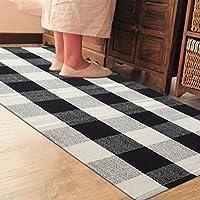 PRAGOO Cotone Tappeto Hand-woven tappeto a scacchi nero bianco grigio plaid piazza tappeto cucina Mat (Cotone Tessuto Piano Tappeto)